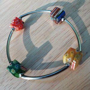 Retro Bracelet Millefiori Beads Silver Multi Color